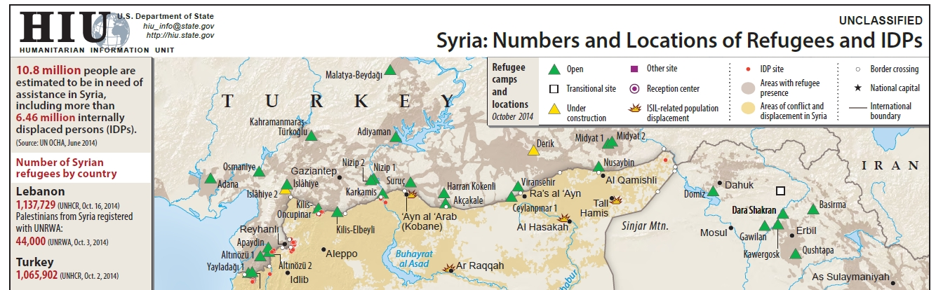 Clip of Syria map produced by the HIU, full map available here - https://hiu.state.gov/Products/Syria_DisplacementRefugees_2014Oct23_HIU_U1109.pdf