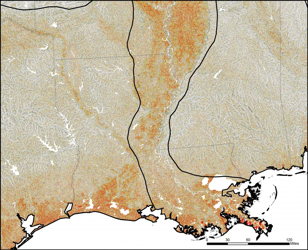 Map shows the Flat Index over Louisiana and the Lower Mississippi Valley